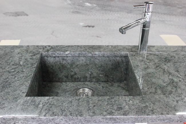 Evier en granit vert san fransisco pierre granit andr demange - Evier sous plan de travail granit ...